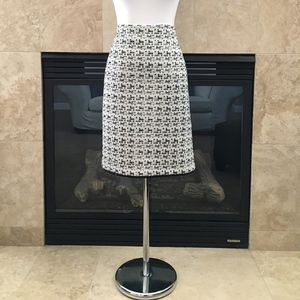 Ann Taylor white & navy tweed pencil skirt 14
